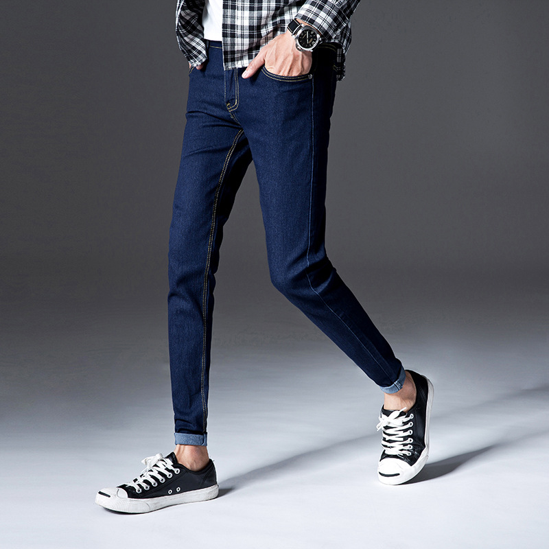 Spring And Autumn Deep Blue Elasticity Jeans Men's Slim Fit Skinny Pants Korean-style Teenager Extra-large Paul Warm Trousers