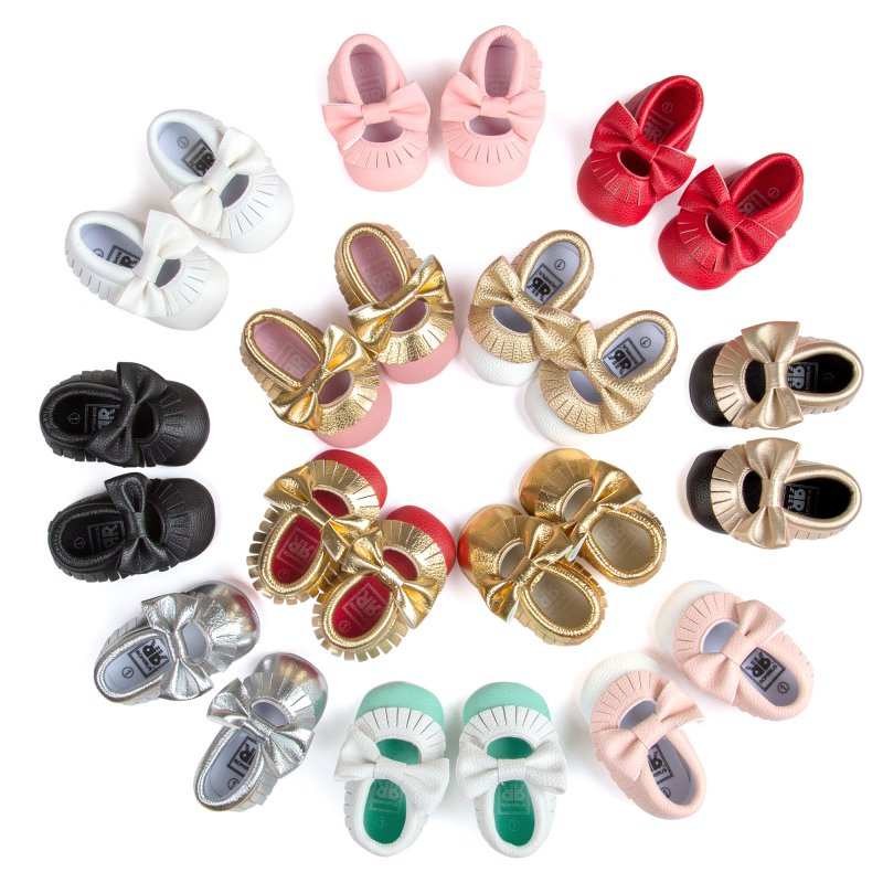 Baby Girls Sneakers Mary Jane Flower Baby Shoes PU Leather Baby Moccasins Gold Bow Girls First Walker Toddler Shoes Hot Selling
