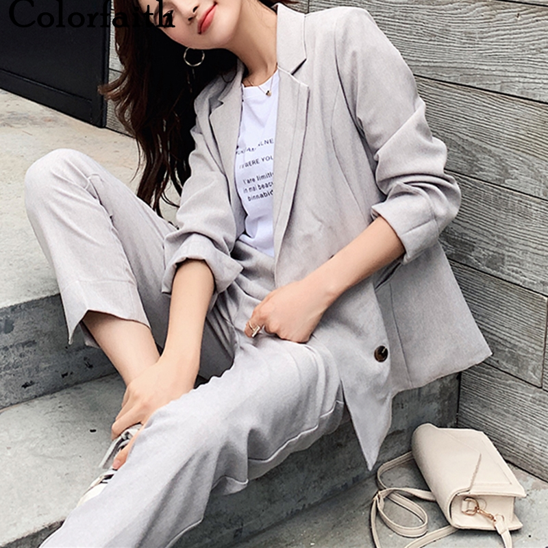 Colorfaith 2020 New Spring Woman Sets 2 Piece Outfits Matching Pants Casual Double Breasted Costume Elastic Waist Suit WS1265