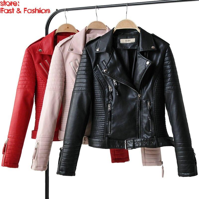 2019 New Autumn Winter Women Motorcycle Faux   Leather   Jackets Lady Epaulet Belt PU Biker Zippers Streetwear Black Outerwear Couts