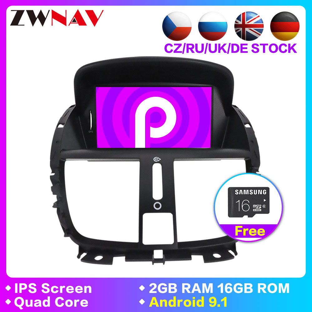 DSP Android 9.1 1 Din Car Radio tape recorder unit For Peugeot 207 2007-2014 Car Multimedia Player Stereo GPS Navigation DVD IPS image
