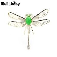 Wuli & baby Grün Stein Luxus Libelle Broschen Frauen Zirkon Beweglichen Flügel Insekt Hochzeiten Bankett Brosche Pins