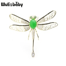 Wuli&baby Green Stone Luxury Dragonfly Brooches Women Zircon Movable Wings Insect Weddings Banquet Brooch Pins