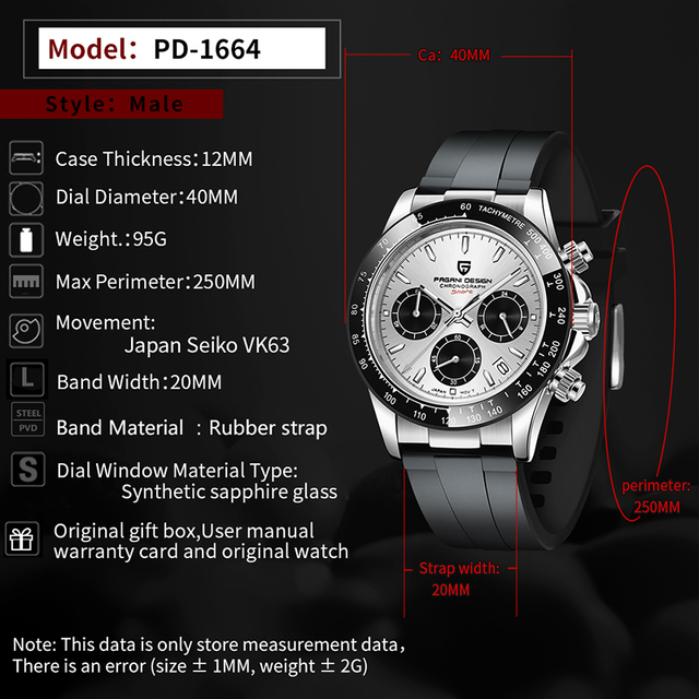 2020 New PAGANI DESIGN Luxury Brand Mens Sports Watches Waterproof Chronograph Japan VK63 Quartz Movement Watch Rubber Strap