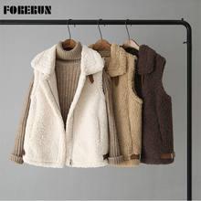 FORERUN – Gilet Sans manches à col rabattu pour Femme, Veste d'hiver en fausse fourrure de mouton, couleur unie