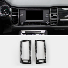 Fit For Skoda Kodiaq 2016 2017 2018 Accessories ABS Carbon Fibre Middle Air Outlet Decoration Cover Trim Car Styling 2Pcs auto accessories middle air vent cover 2pcs car styling accessories for 2017 skoda kodiaq