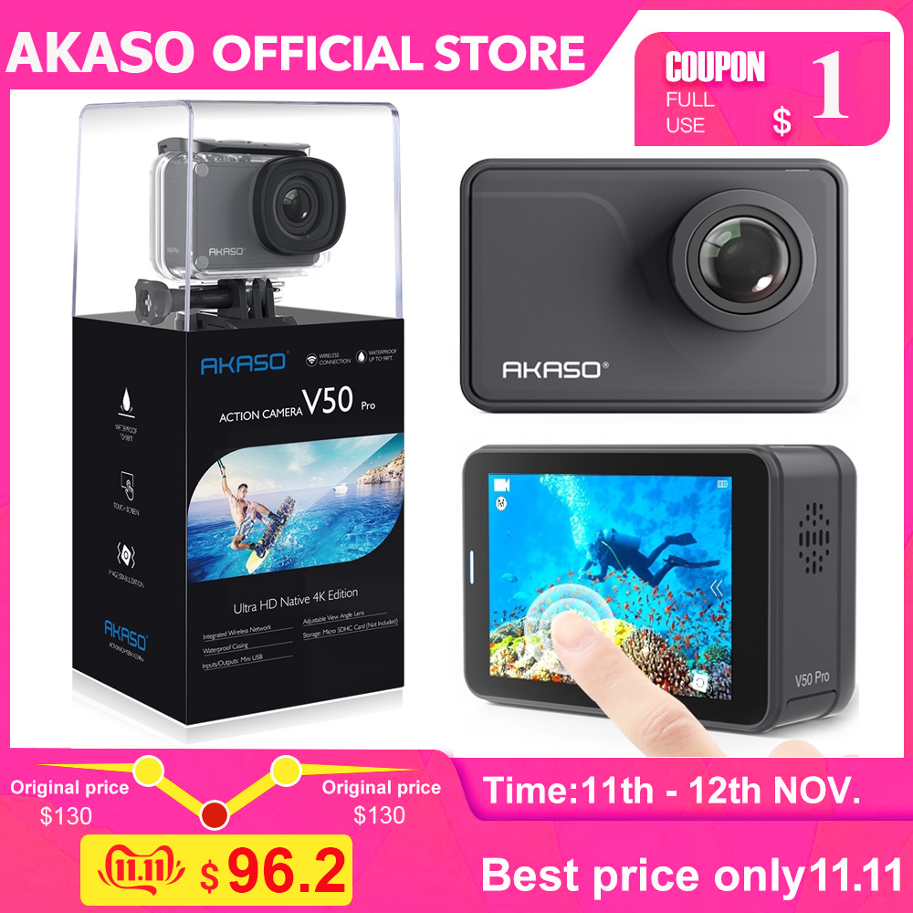 AKASO V50 Pro Native 4K/30fps 20MP WiFi Action Camera EIS Touch Screen 30m Waterproof 4k Sport Camera Support External Micro-in Sports & Action Video Camera from Consumer Electronics