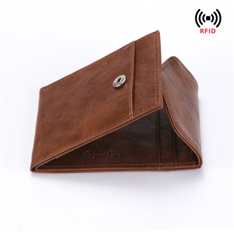 Zebella RFID Creative Short Men's Wallet Business Credit Card Holder Crazy Horse Genuine Leather Coin Purses Luxury Wonen Purses