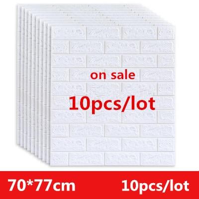 3D Brick Wall Stickers 77*70cm 10 Pcs DIY Self Foam Waterproof Decor Wall Covering Wallpaper For TV Background Kids Living Room