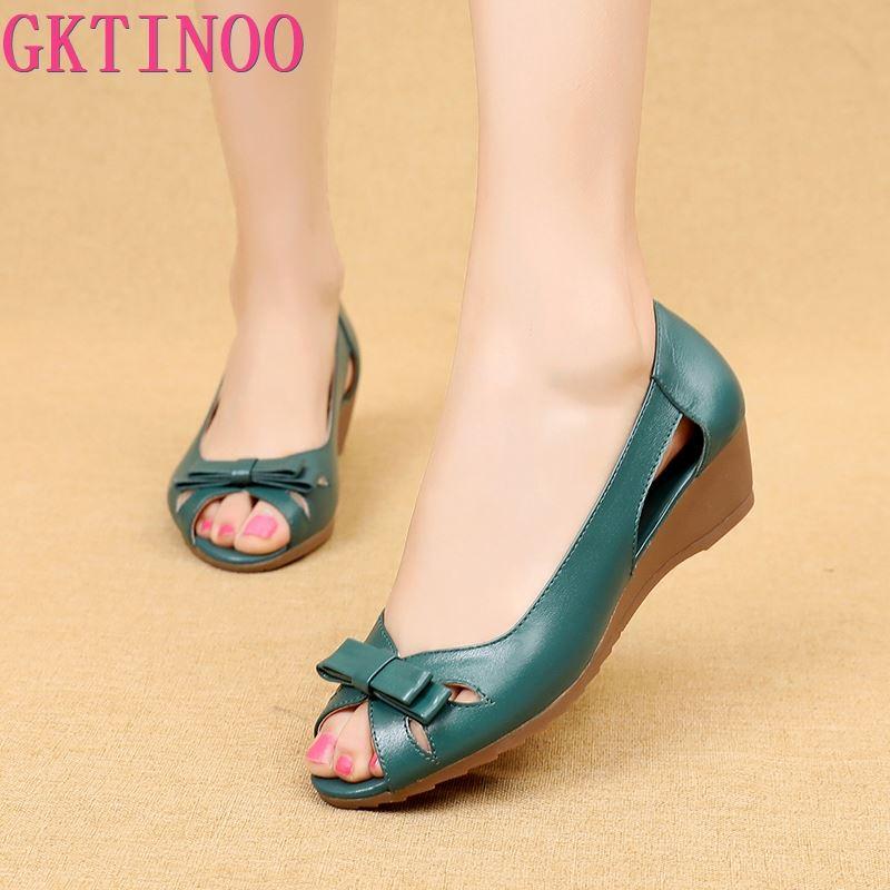GKTINOO 2020 Summer Women Shoes Woman Genuine Leather Platform Sandals Open Toe Mother Wedges Casual Sandals Women SandalsLow Heels   -