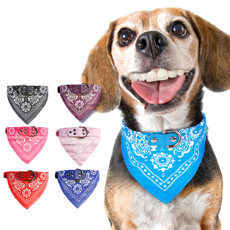 1PC Handsome Pet Dog Scarf Collars Adjustable Dogs Bandana Leather Printed Soft Collar for Supplies Cat Tie