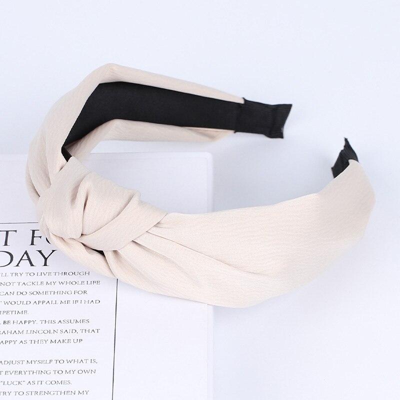 Couleur unie noeud bandeaux pour femmes Simple tissu filles bandeau femmes cheveux accessoires large côté bandeau 27