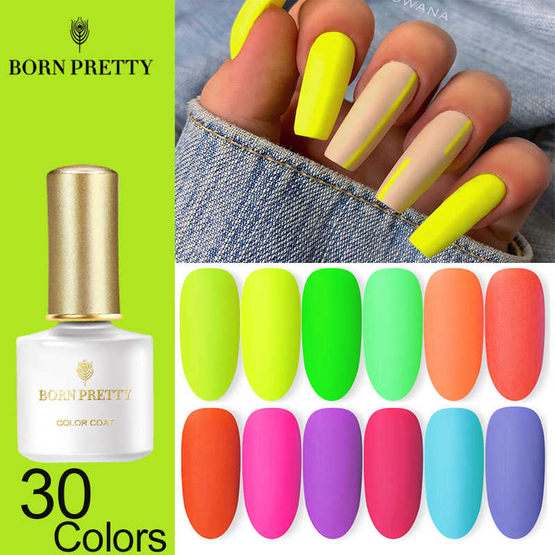 Lahir PRETTY Neon Matte Gel Cat Kuku Hijau Kuning Warna 6Ml Neon Series Rendam Off UV Gel Pernis Kuku desain Seni Gel