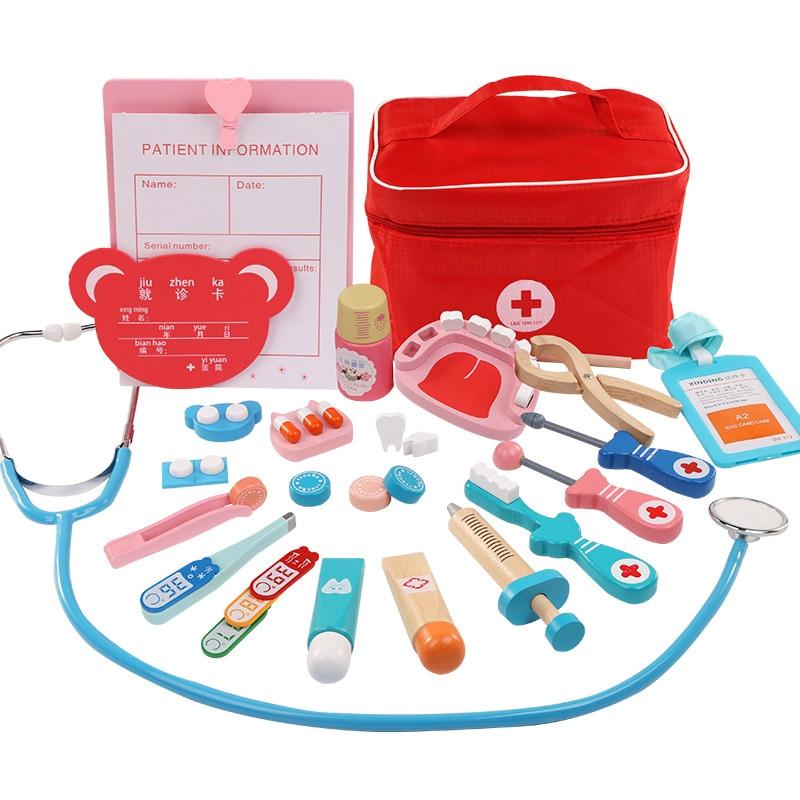 [Cloud Commercial Union] sac en tissu modèle Portable médecin infirmière enfants personnage Imitation jouer maison jeu en bois
