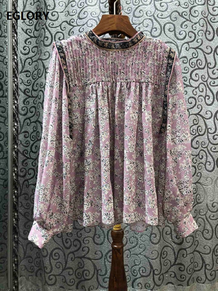 Tops Fashion Blouses 2020 Spring Style Women Stand Neck Elegant Little Flower Print Pleated Deco Long Sleeve Casual Loose Blouse