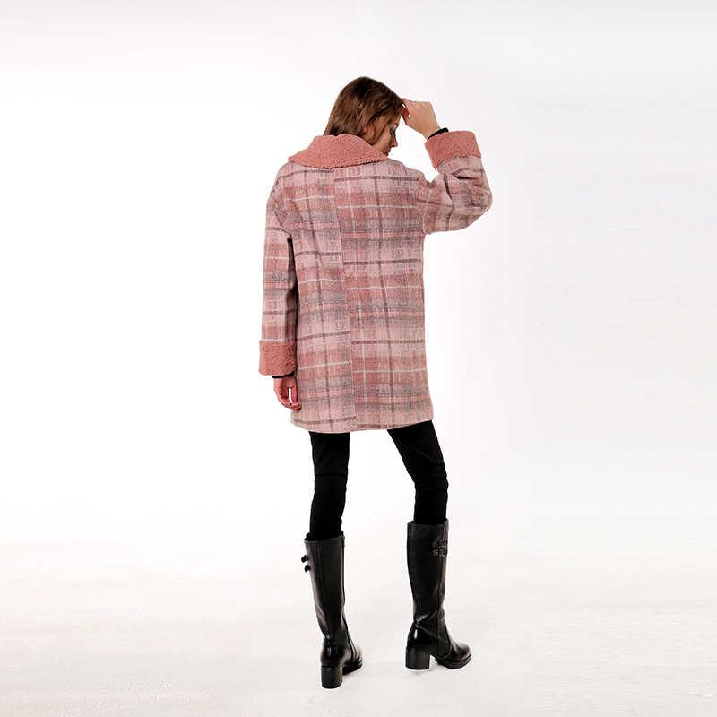 CMAZ 2019 autumn winter plaid woolen coat new fashion causal women turndown collar long pink coat MX18D9678