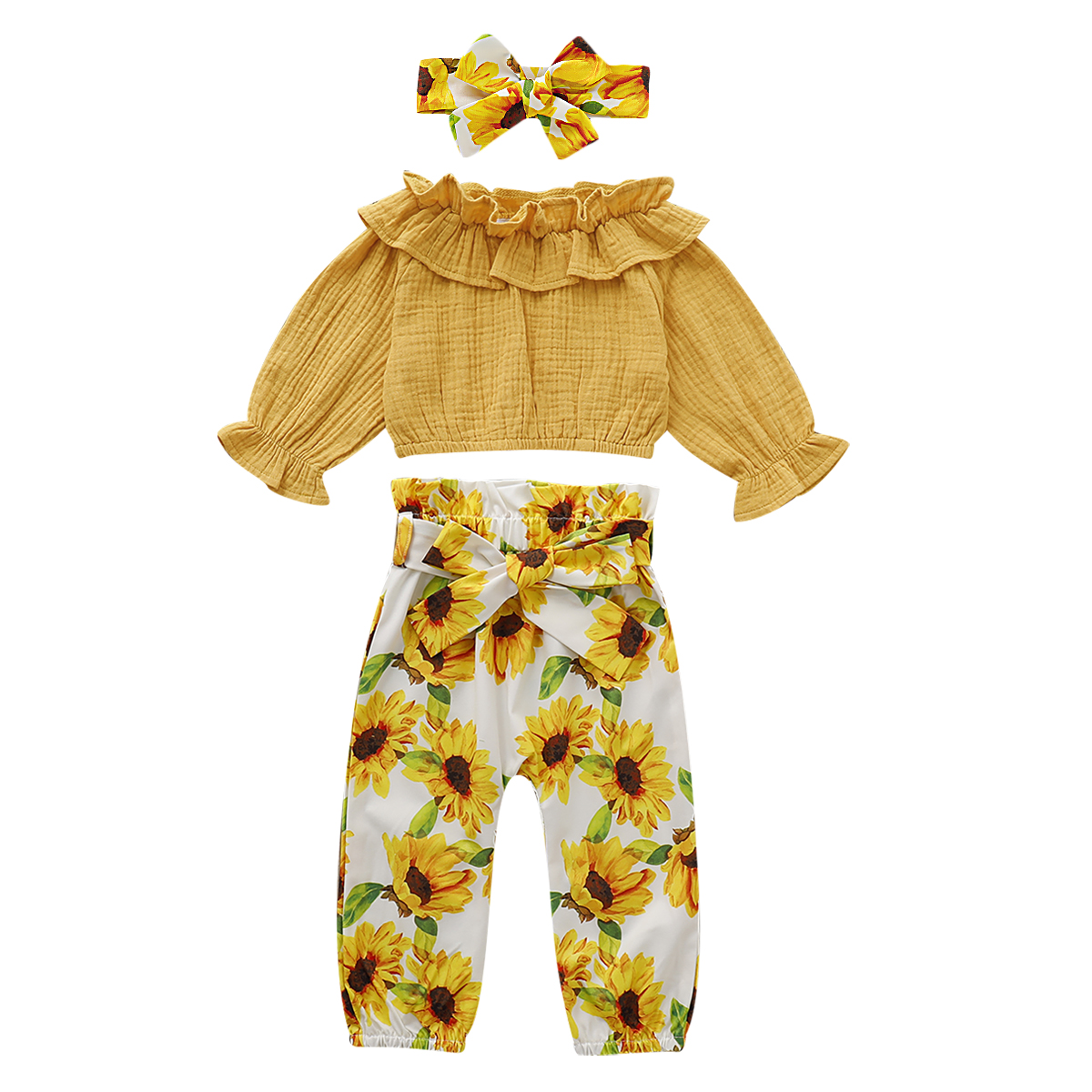Toddler Kid Baby Girl 3pcs Clothes Ruffle Tops T Shirt Pants Trousers Outfit Set