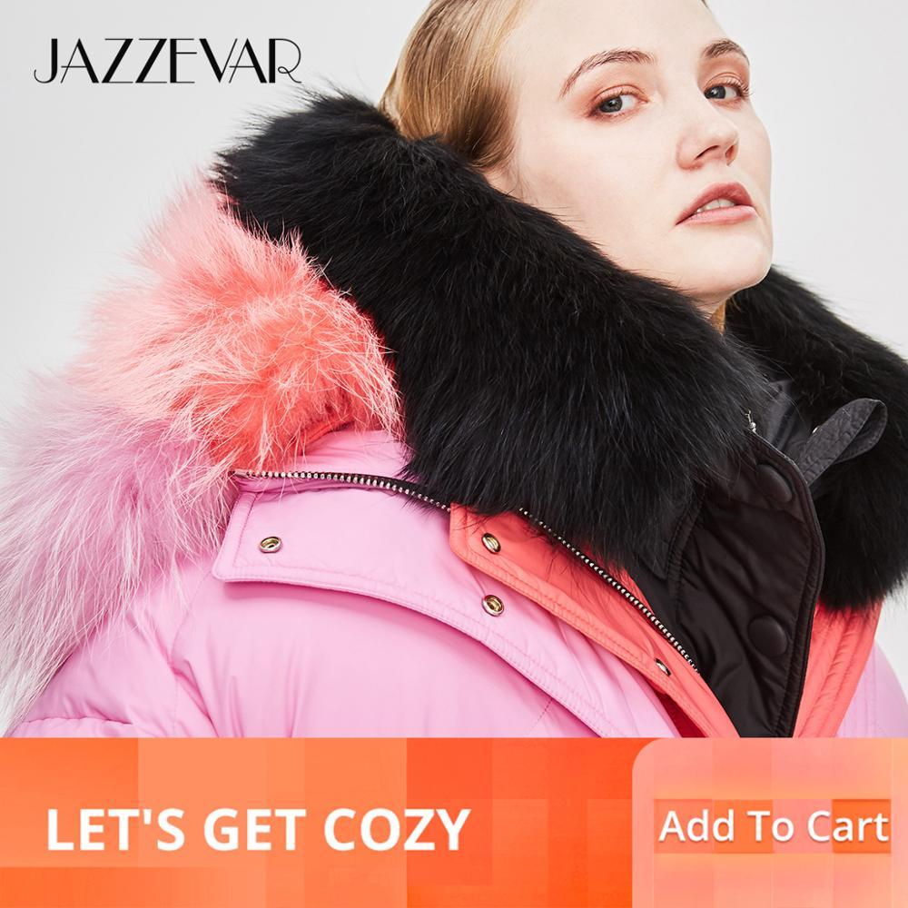 Jazzevar 2019 겨울 새로운 패션 거리 디자이너 브랜드 여성 짧은 오리 자 켓 귀여운 핑크 컬러 진짜 모피 겉옷 z18004-에서다운 코트부터 여성 의류 의  그룹 1