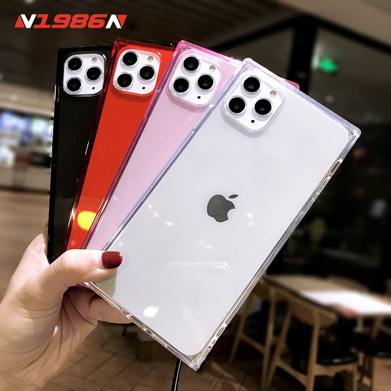 N1986N Phone Case For iPhone 11 Pro X XR XS Max 6 6s 7 8 Plus Fashion Square Design Candy color Clear Soft TPU For iPhone X Case