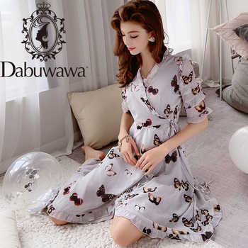 Dabuwawa Elegant Butterfly Print Asymmetrical Chiffon Dress Women V-Neck Short Sleeve Ruffle Edge Long Dresses Female D18BDR173 butterfly print v neck asymmetric slip top