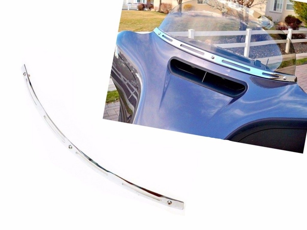Chrome Metal Slotted Windshield Trim For 1996-2013 Harley Davidson TOURING BAGGER BATWING
