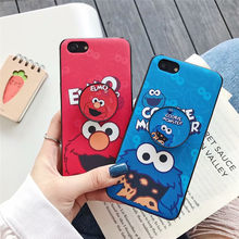 Elmo Cookie Stand Case Voor OPPO A37 A39 A57 A83 A3 A5 A7X A73 Paar Zachte TPU Siliconen Cover Voor OPPO R9 R9s R11 s Plus R15X R17(China)