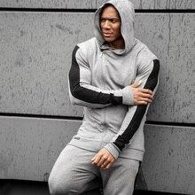 Eşofman erkek koşu spor takım elbise kazak Sweatpants spor Fitness eğitimi Hoodies ve pantolon setleri erkek koşu giyim