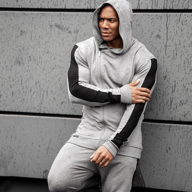 Fatos de treino dos homens correndo ternos do esporte moletom moletom ginásio fitness formação hoodies e calças define masculino jogging roupas