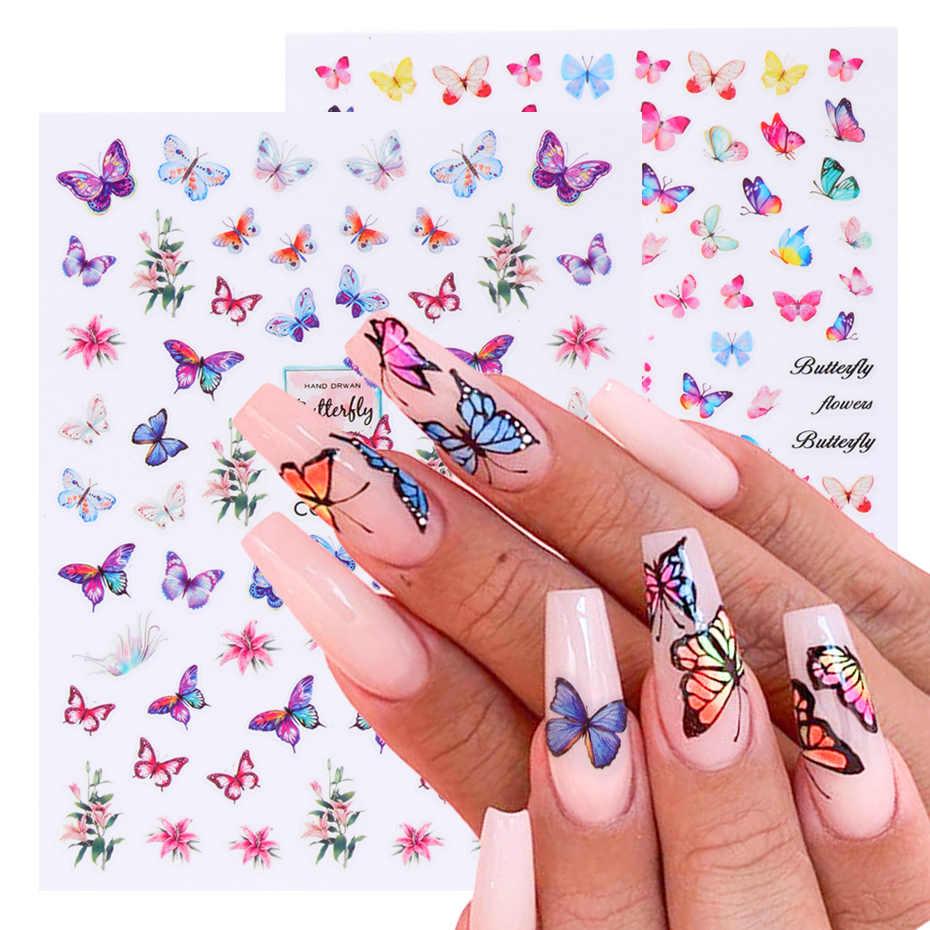 3D Schmetterling Nagel Kunst Aufkleber Klebe Sliders Bunte Blau Blumen Nagel Transfer Decals Folien Wraps Dekorationen TRCA671-674