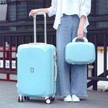 KLQDZMS  Women's Colorful Trolley Luggage Bag Set 20''22''24''26 Inch ABS Student Spinner Rolling Luggage With Cosmetic Bag