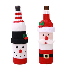 Christmas decorations elk red wine bottle set Knitted champagne restaurant holiday layout supplies
