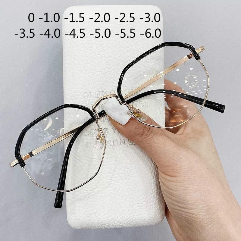 Lunettes Anti myopie, métal Anti bleu, grandes lunettes surdimensionnées, monture, lunettes de dioptrie UV400, modèle 1.0 à 6.0   AliExpress