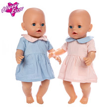 Cute Denim Dress For 17 Inch Reborn Baby Dolls 43cm Doll Clothes(China)