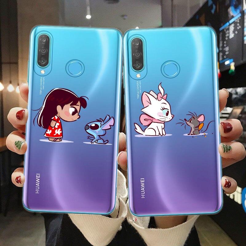 Cute Mini Princesses Mermaid Belle Snowwhite Phone Case For Huawei P10 P20 P30 P40 Lite Soft TPU Cover For Coque Huawei P30 Lite
