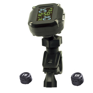 Image 4 - with Time USB Charging Motorcycle TPMS Motor Tire Pressure Tyre Temperature Monitoring Alarm System with 2 External Sensors