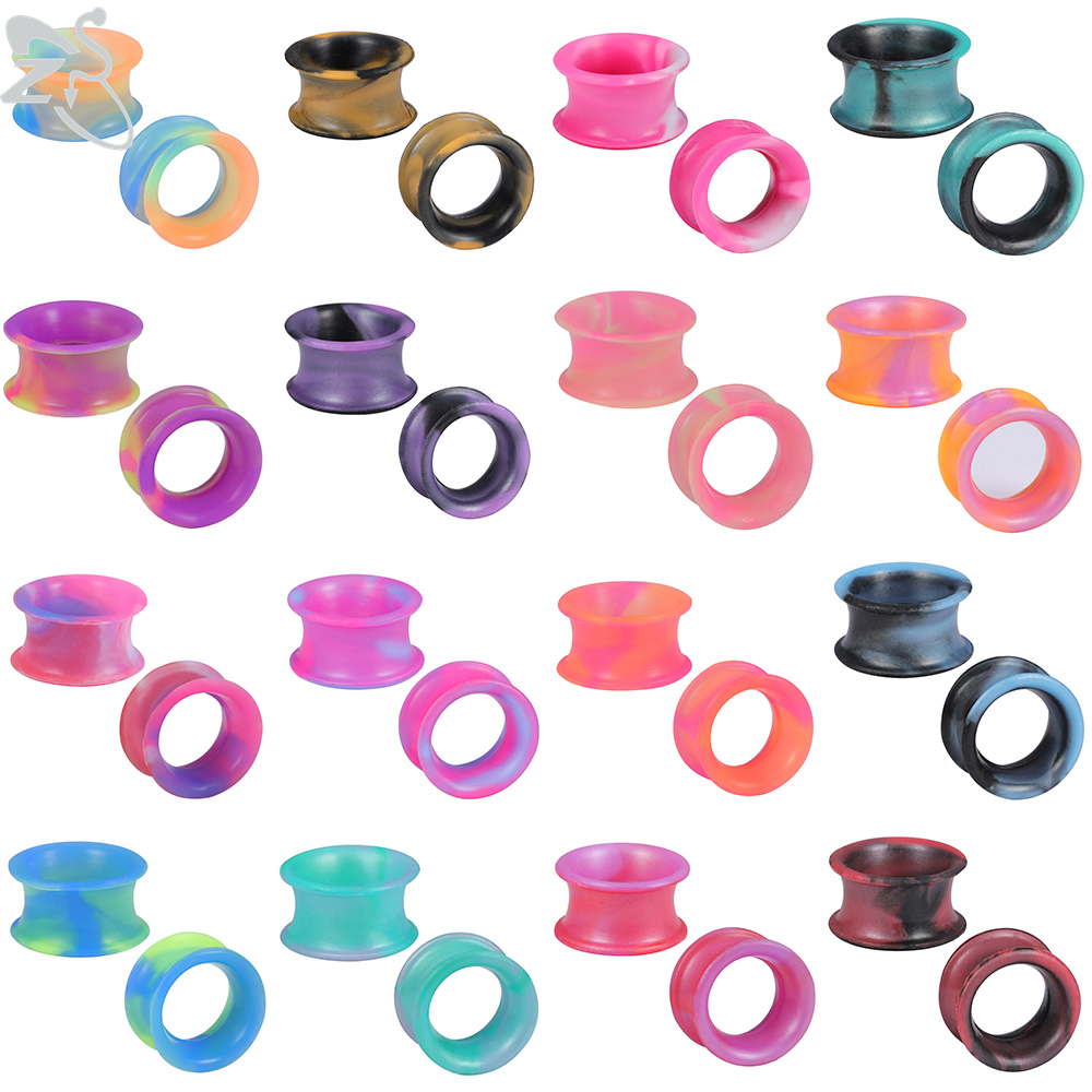 ZS 24 Colors 5-22mm Silicone Ear Plugs & Tunnels Double Flared Ear Piercing Expander Men's Flexible Ear Stretchers Ear Gauges
