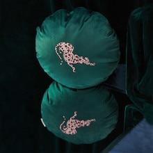 DUNXDECO ronda cojín cubierta decorativa funda de almohada Vintage Leopardo de terciopelo Impresión de lujo casa Oficina sofá silla asiento Coussin