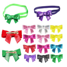 60 PCS Lovely Sequin Pets Grooming Accessories Cute Dog Puppy Cat Kitten Pet Toy Kid Solid Bow Tie Necktie Clothes Cat Dog Neckt