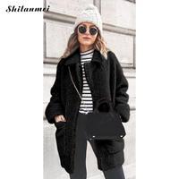 Long Sleeve Warm Parka Outerwear Winter Women's Faux Fut Coat 2019 Fashion Causal Jacket Plush Pocket Ladies Overcoat Invierno