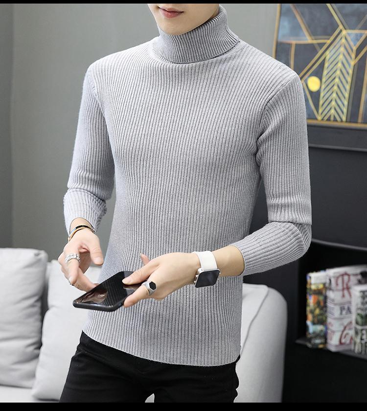 Turtleneck Men's Vertical Mens Striped Jumper Slim Fit Knitted Pullover High Collar Sweater Men White Gray Black
