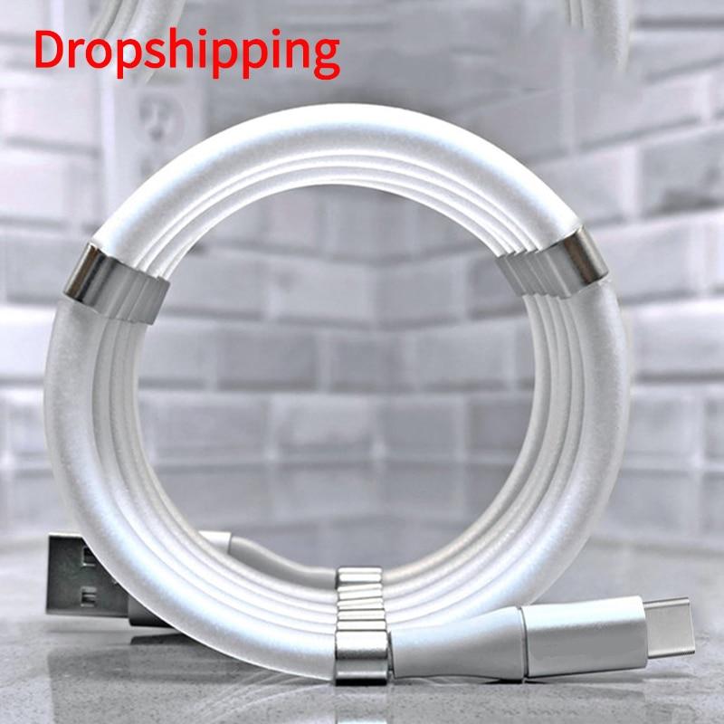 Магнитный кабель для быстрой зарядки 4A волшебный шнур для передачи данных для iPhone Samsung Xiaomi автоматически Выдвижной Телефонный Кабель Micro USB Type C|Кабели для мобильных телефонов| | АлиЭкспресс