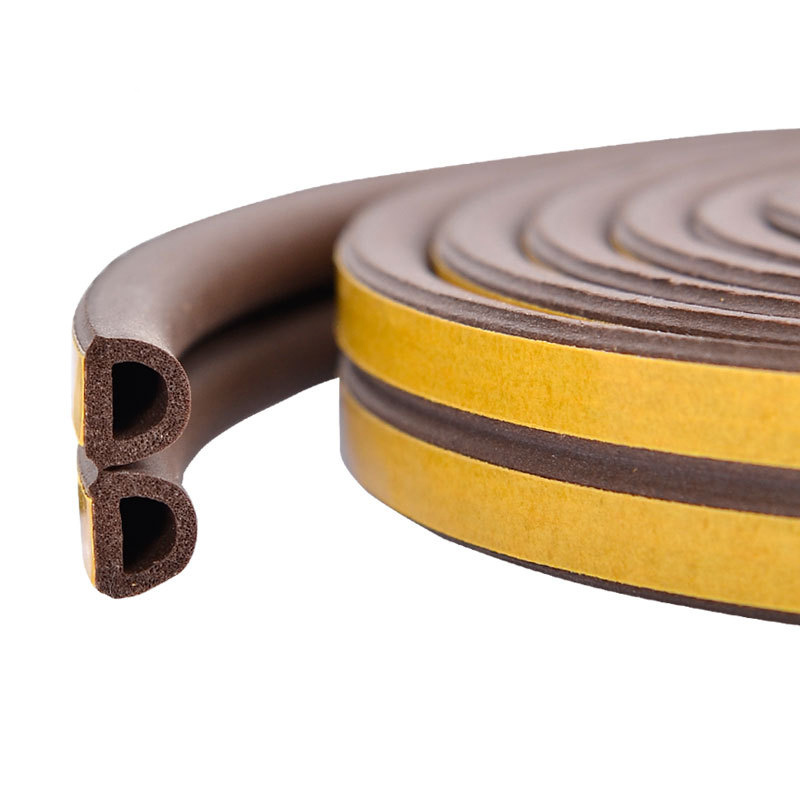 5M Self Adhesive D Type Doors & Windows Foam Seal Strip Soundproofing Collision Avoidance Rubber Seals TUE88