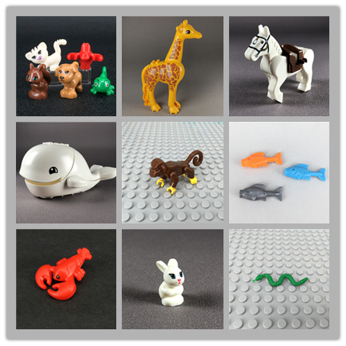 Blocks Animal Shark Snake Cat Monkey Pig Horse Rabbit Fish Bear Mouse Spider Chicken Giraffe Lobster DIY Toys Kids Dolls Gifts(China)