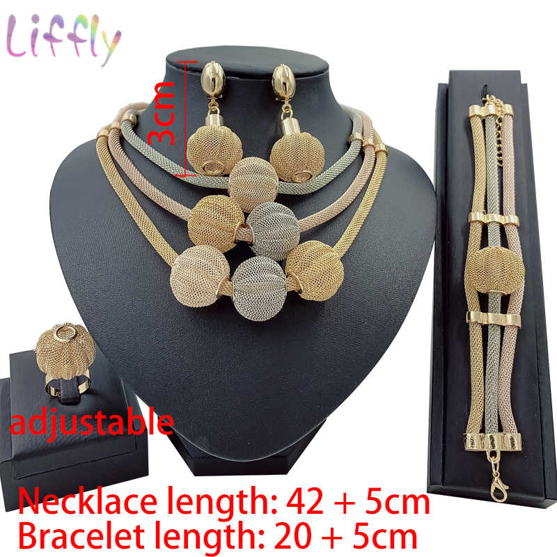 Großen Afrikanischen Gold Schmuck Set für Frauen Nigerian Choker Halskette Erklärung Schmuck Drei Ton Layered Ohrringe Ring Armband