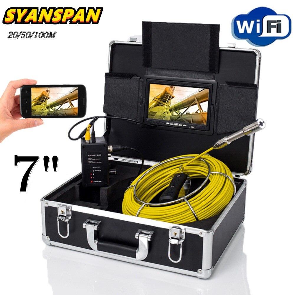 SYANSPAN 7 дюймовым монитором 20/50/100 м Wi-Fi камера для осмотра труб видео Камера, 23 мм Слива канализационных труб промышленная камера-эндоскоп Каме...