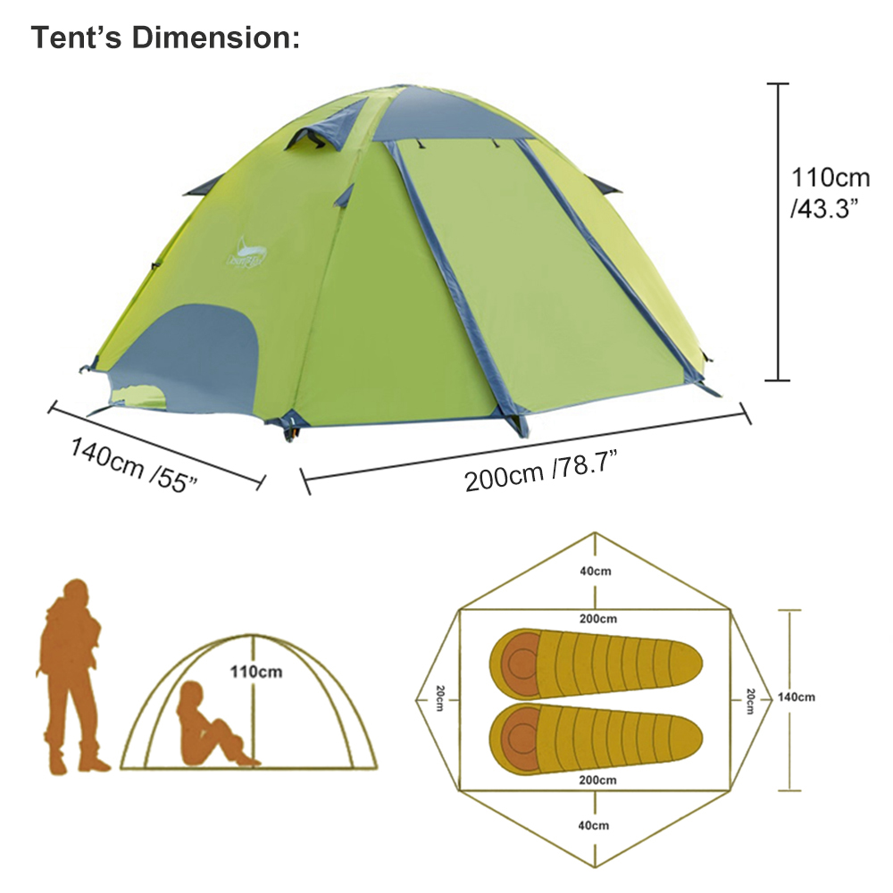 Desert&Fox 3 Season Lightweight Tent Outdoor Camping Hiking Tents with Carry Bag 2-3 Person Double Layer Backpack Compact Tent 2