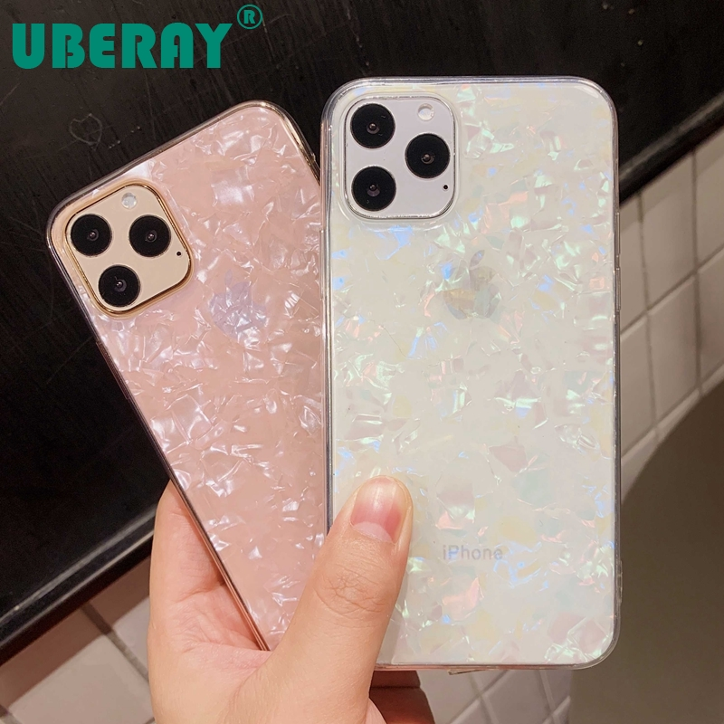 Sparkle and Crystal Clear Phone Case For iPhone X XR XS 11 Pro Max 8 7 6 6s Plus with Glitter Shell Pattern