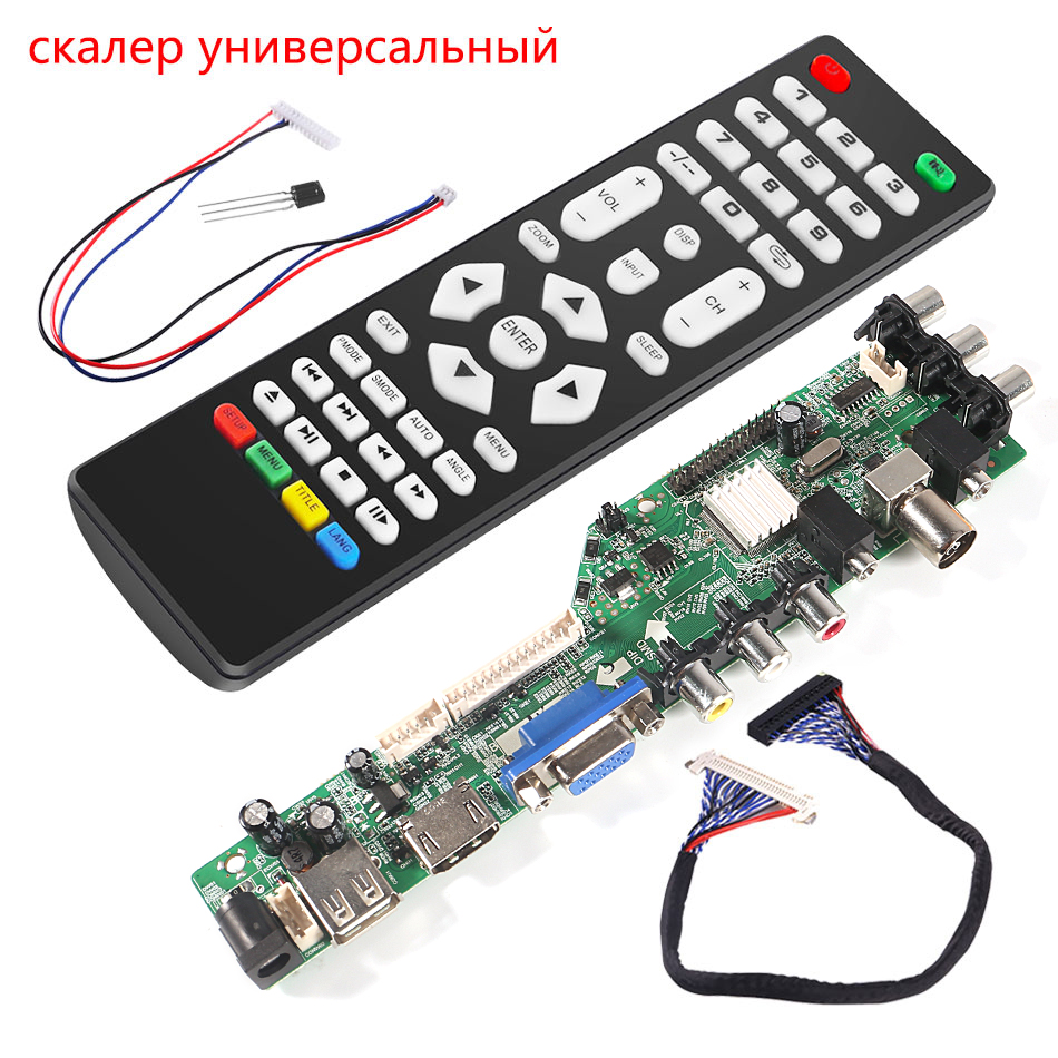 3663 New Digital Signal DVB-C DVB-T2 DVB-T Universal LCD TV Controller Driver Board UPGRADE 3463A Russian USB play LUA63A81