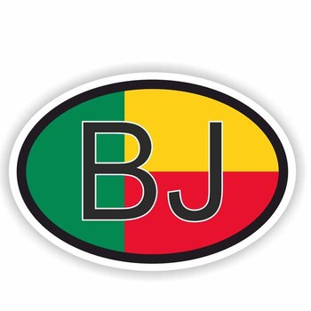 14.6CM*9.7CM Car Sticker Creative BENIN BJ Country Code Flag Motorcycle Decal 6-0493 image