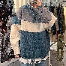 Sweater Men Streetwear Hip Hop Autumn Pull  O-neck Oversize Couple 2021 Stitching Male Tops Vintage Knittwear Sweaters